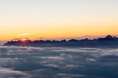 Puesta del sol en el refugio de Tete Rouse Fotografía de archivo libre de regalías