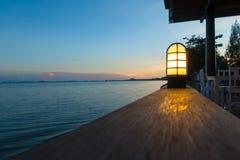 Puesta del sol en el restaurante imagen de archivo libre de regalías