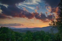 Puesta del sol en el Ridge azul Fotos de archivo libres de regalías