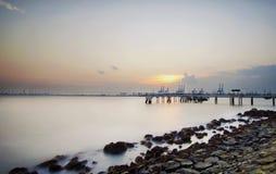 Puesta del sol en el sentosa, Singapur Imágenes de archivo libres de regalías