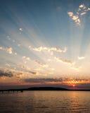 Puesta del sol en el sonido de Puget Fotografía de archivo