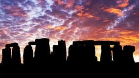Puesta del sol en el Stonehenge Imagen de archivo libre de regalías