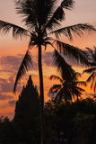 Puesta del sol en el templo de Prambanan, Yogjakarta, Indonesia Fotografía de archivo