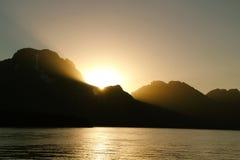 Puesta del sol en el Tetons Fotografía de archivo libre de regalías