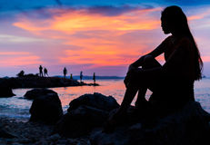 Puesta del sol en el @Thailand de Koh Larn Foto de archivo libre de regalías