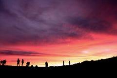 Puesta del sol en el volcán Foto de archivo libre de regalías