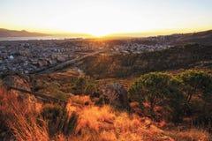 Puesta del sol en Esmirna Imagen de archivo libre de regalías