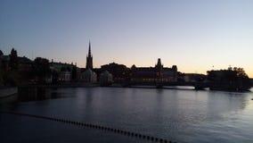Puesta del sol en Estocolmo fotografía de archivo