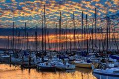 Puesta del sol en Everett Marina, Washington State Imagen de archivo