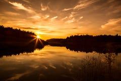 Puesta del sol en Finlandia Fotografía de archivo libre de regalías