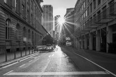 Puesta del sol en Francfort fotografía de archivo libre de regalías