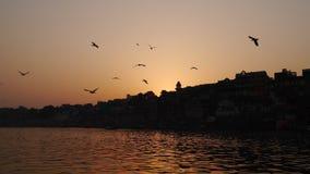 Puesta del sol en Ganga Foto de archivo libre de regalías