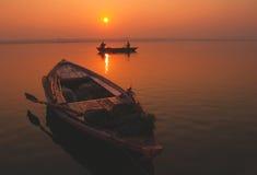 Puesta del sol en Ganges Imagen de archivo libre de regalías