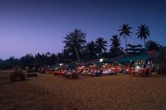 Puesta del sol en Goa, playa de Patnem Imagen de archivo