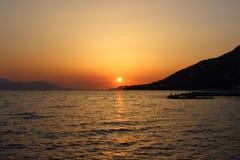 Puesta del sol en Grecia Foto de archivo libre de regalías