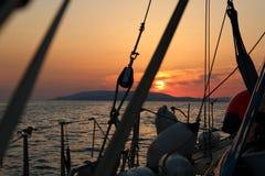Puesta del sol en Grecia Foto de archivo