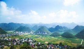 Puesta del sol en Ha Giang Fotos de archivo libres de regalías