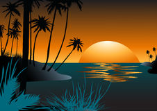 Puesta del sol en Hawaii Fotografía de archivo libre de regalías