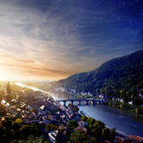 Puesta del sol en Heidelberg Imagen de archivo libre de regalías