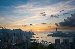 Puesta del sol en Hong-Kong Fotografía de archivo