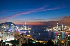 Puesta del sol en Hong-Kong Foto de archivo