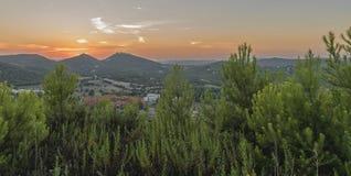 Puesta del sol en Ibiza Imágenes de archivo libres de regalías