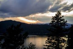 Puesta del sol en Idaho del norte Foto de archivo libre de regalías