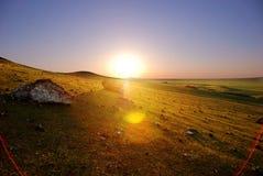Puesta del sol en Inner Mongolia de China Imagenes de archivo