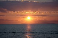 Puesta del sol en Italia Imagen de archivo libre de regalías