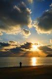 Puesta del sol en Japón foto de archivo