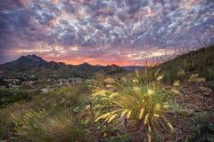 Puesta del sol en Kara Dagh Imagen de archivo libre de regalías