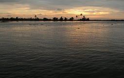 Puesta del sol en Kerala, la India Fotografía de archivo libre de regalías