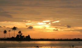 Puesta del sol en Kerala, la India Imágenes de archivo libres de regalías