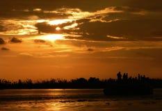 Puesta del sol en Kerala, la India Fotos de archivo libres de regalías