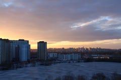 Puesta del sol en Kiev Imagenes de archivo