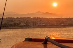 Puesta del sol en Kos Grecia Fotos de archivo