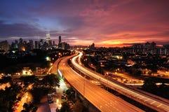 Puesta del sol en Kuala Lumpur Imagenes de archivo