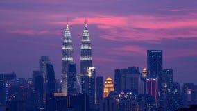 Puesta del sol en Kuala Lumpur Fotos de archivo libres de regalías