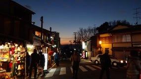 Puesta del sol en Kyoto fotos de archivo