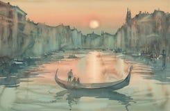 Puesta del sol en la acuarela de Venecia stock de ilustración