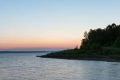 Puesta del sol en la bahía Imágenes de archivo libres de regalías