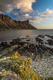 Puesta del sol en la bahía de Kogel - Cape Town Fotos de archivo