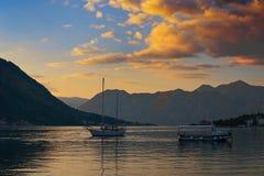 Puesta del sol en la bahía de Kotor Imágenes de archivo libres de regalías