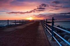 Puesta del sol en la bahía de Morecambe en Inglaterra Fotografía de archivo