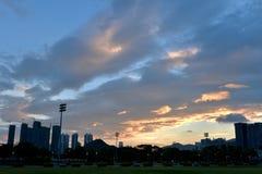 Puesta del sol en la bahía de Shenzhen Foto de archivo