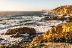 Puesta del sol en la bahía del Bodega, California Fotografía de archivo libre de regalías