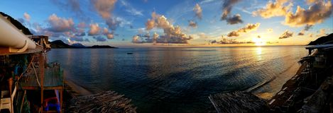 Puesta del sol en la bahía del fraile del norte foto de archivo
