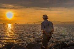 Puesta del sol en la bahía inglesa imagen de archivo libre de regalías
