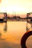 Puesta del sol en la bahía de Mindelo Imágenes de archivo libres de regalías