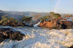 Puesta del sol en la cascada de Ruacana, Namibia Imagen de archivo